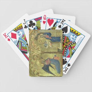 El anuncio, detalle de un polytych que representa barajas de cartas