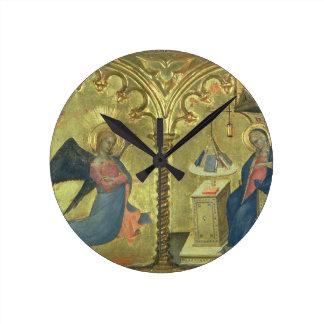 El anuncio, detalle de un polytych que representa relojes