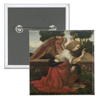 El anuncio, el panel de la predela de un altarpiec pin cuadrado
