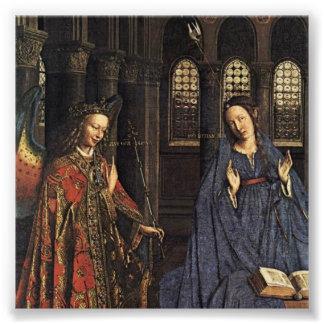 El anuncio en enero van Eyck Cojinete