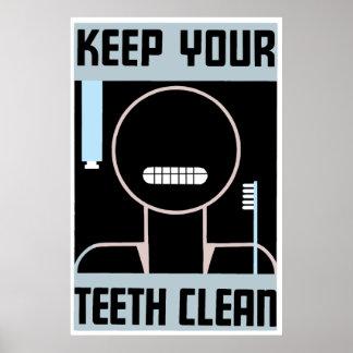 El anuncio minimalista retro mantiene sus dientes  póster