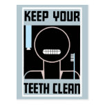 El anuncio minimalista retro mantiene sus dientes postal