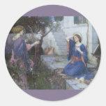 El anuncio por el Waterhouse de JW, arte del Pegatina Redonda
