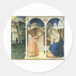 El anuncio por Fra Angelico Etiqueta Redonda