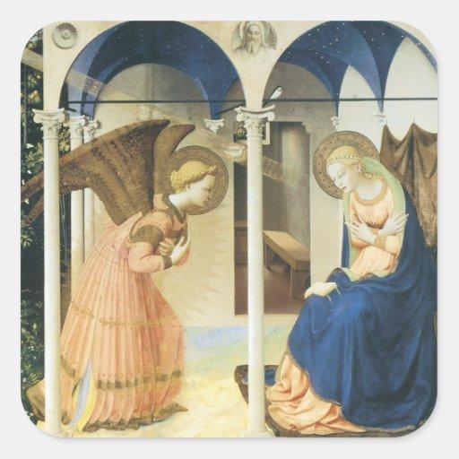El anuncio por Fra Angelico Pegatina Cuadrada