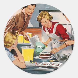 El anuncio retro de las mujeres del vintage nos de pegatina redonda