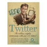 El anuncio social de los medios del gorjeo retro c postal