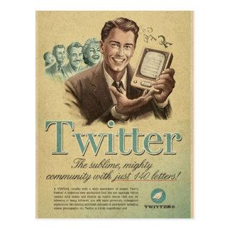 El anuncio social de los medios del gorjeo retro tarjetas postales