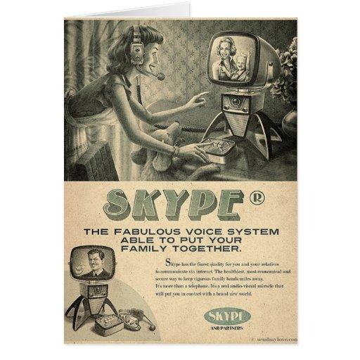 El anuncio social retro de los medios de Skype cer Tarjetón