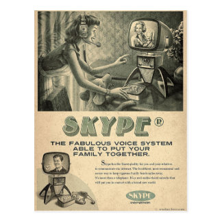 El anuncio social retro de los medios de Skype Tarjeta Postal