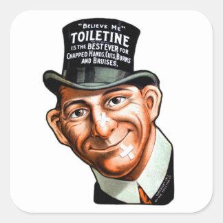 El anuncio Toiletine del kitsch del vintage corta Pegatina Cuadrada