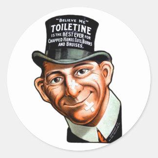 El anuncio Toiletine del kitsch del vintage corta Pegatina Redonda