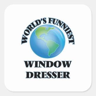 El aparador de la ventana más divertido del mundo pegatina cuadrada