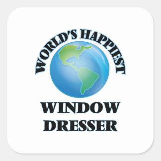El aparador de la ventana más feliz del mundo pegatina cuadrada