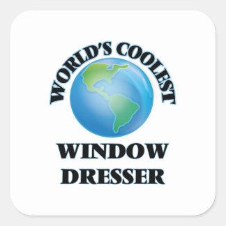 El aparador de la ventana más fresco del mundo pegatina cuadrada