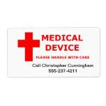 El aparato médico suministra el equipo etiquetas de envío
