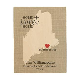 El apellido de encargo del mapa del amor del impresión en madera