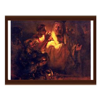 El apóstol Peter niega a Cristo, por Rembrandt Postales