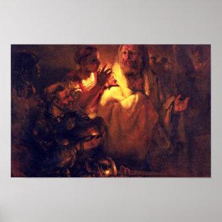 El apóstol Peter niega a Cristo, por Rembrandt Póster