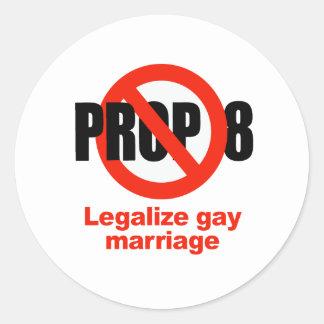 El APOYO ANTI 8 - legalice el matrimonio Etiquetas Redondas