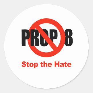 El APOYO ANTI 8 - pare el odio Etiqueta Redonda