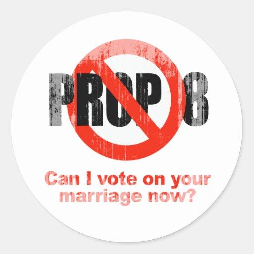 El APOYO ANTI 8 - puede el voto de I en su boda Pegatina Redonda