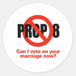 El APOYO ANTI 8 - puede el voto de I en su boda Etiqueta Redonda