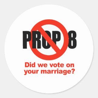 ¿El APOYO ANTI 8 - votamos sobre su boda? Pegatinas Redondas