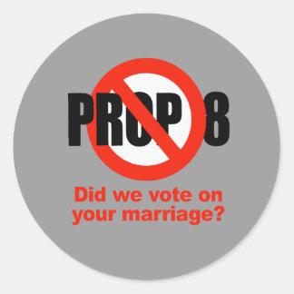 ¿El APOYO ANTI 8 - votamos sobre su boda? Pegatina Redonda