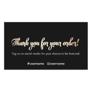El aprecio del cliente le agradece por su orden tarjetas de visita