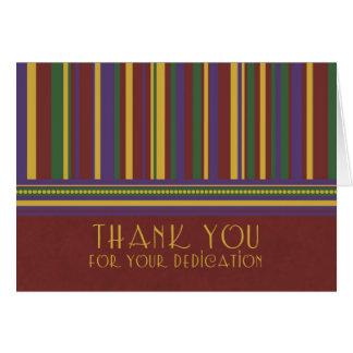 El aprecio del empleado de las rayas le agradece c tarjeta pequeña