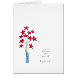 El aprecio del empleado le agradece cardar las flo tarjeta de felicitación