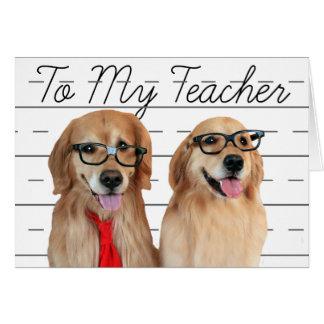 El aprecio del profesor del golden retriever le tarjeta de felicitación