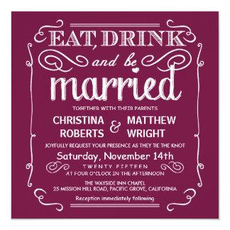 """El arándano come la bebida sea boda casado invita invitación 5.25"""" x 5.25"""""""