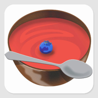 El arándano en un cuenco de sopa del tomate - calcomanía cuadradas