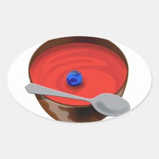 El arándano en un cuenco de sopa del tomate - pegatinas de óval personalizadas