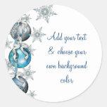 El árbol adorna a los pegatinas azules del navidad