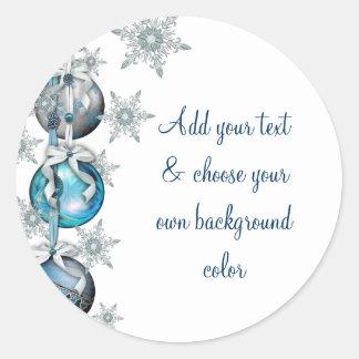 El árbol adorna a los pegatinas azules del navidad pegatina redonda