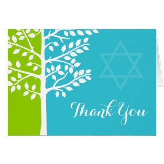 El árbol azul del trullo verde del palo Mitzvah de Tarjeta Pequeña