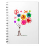 El árbol coloreado remolina el eco espiral graphic libros de apuntes