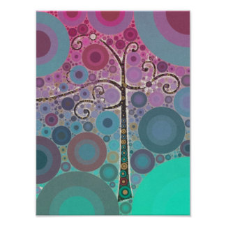 El árbol colorido enrrollado de la voluta circunda poster