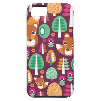 El árbol colorido retro lindo del zorro embroma el funda para iPhone SE/5/5s