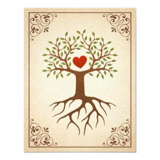 """El árbol con la reunión de familia adornada del invitación 4.25"""" x 5.5"""""""