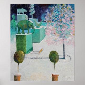 El árbol de almendra en el jardín del Topiary Posters