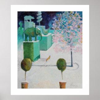 El árbol de almendra en el jardín del Topiary Impresiones