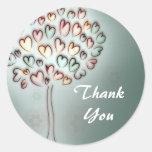 el árbol de amor del corazón le agradece pegatina