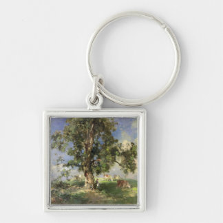 El árbol de ceniza viejo (aceite en lona) llavero cuadrado plateado