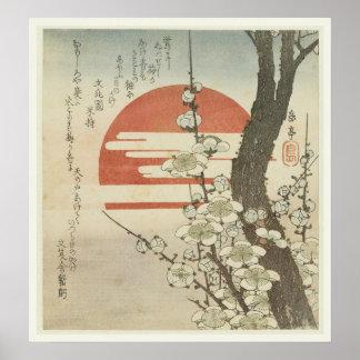 El árbol de ciruelo y el sol naciente póster