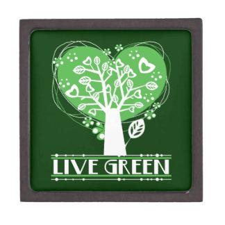 El árbol de corazones vive verde caja de joyas de calidad