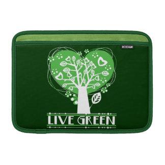 El árbol de corazones vive verde fundas macbook air